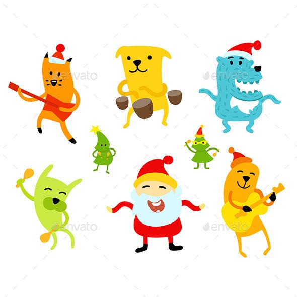 Funny New Year Musicians Animals - Christmas Seasons/Holidays