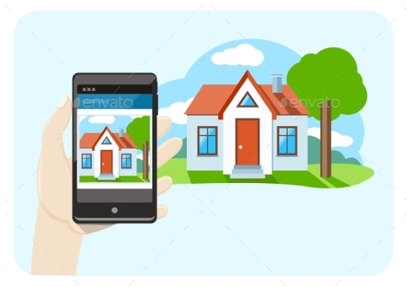 Smartphone with House - Buildings Objects