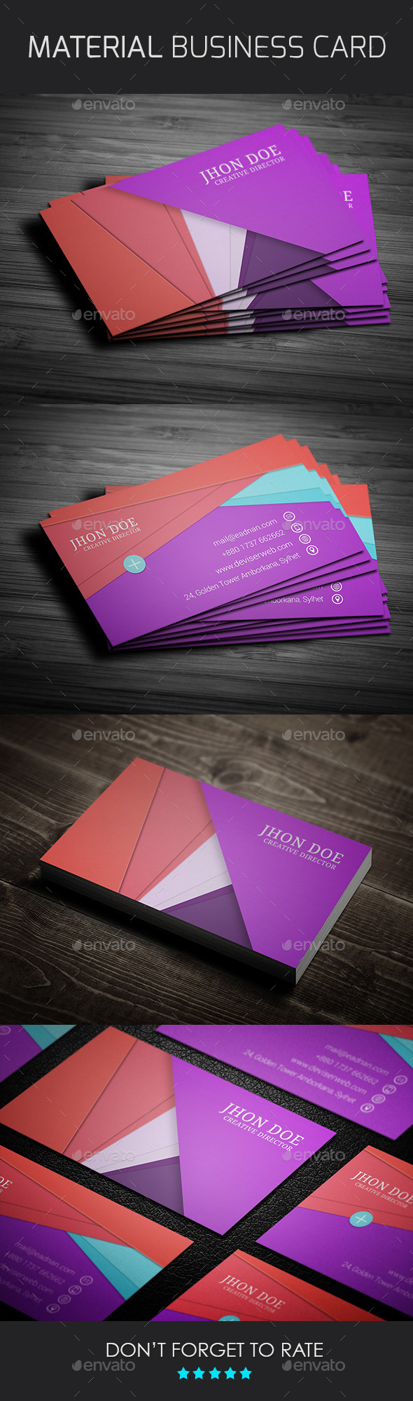 Material Design Business Card Template by rtralrayhan | GraphicRiver