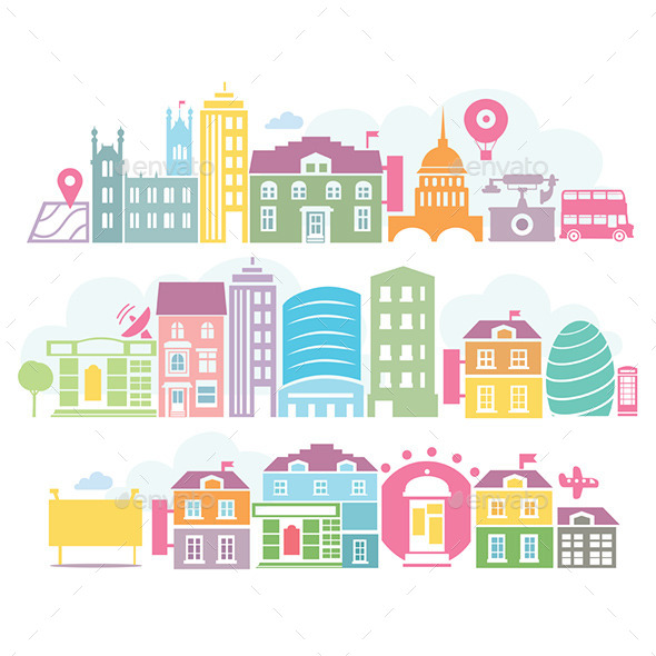 City London Colorful Silhouettes of Buildings - Travel Conceptual