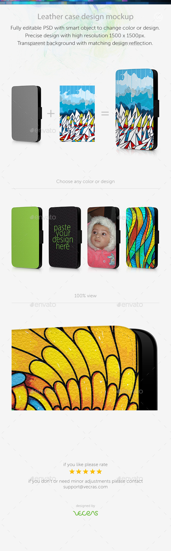 Leather Mobile Case Design Mockup - Mobile Displays