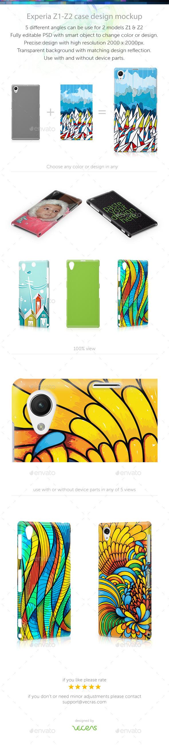 Experia z1-z2 Case Design Mockup - Mobile Displays