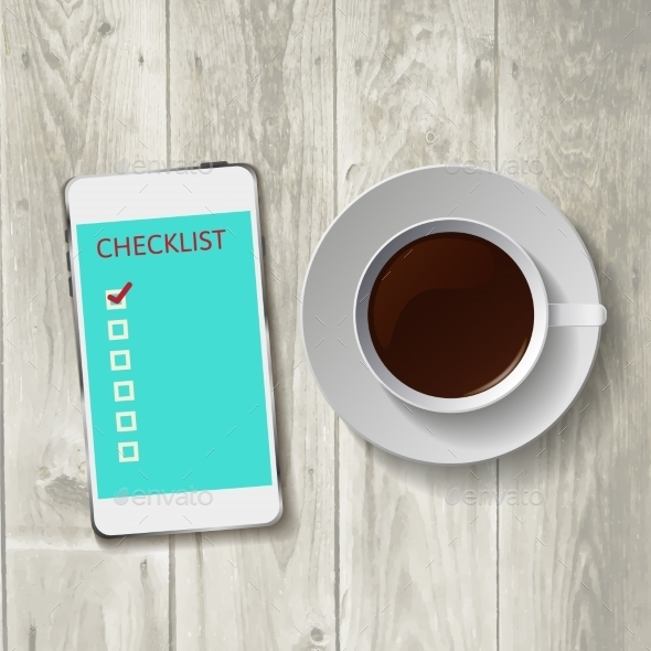 Smart Phone with Check List - Technology Conceptual