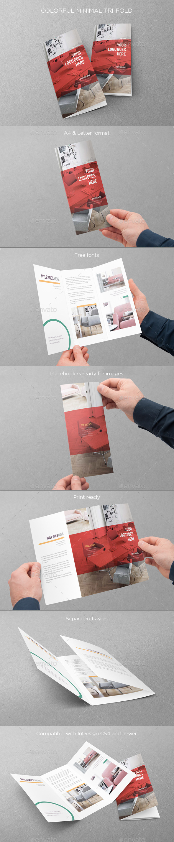 Colorful Minimal Trifold - Brochures Print Templates