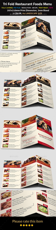 Tri Fold Restaurant Foods Menu - Food Menus Print Templates