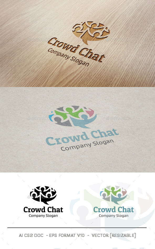 Crowd Chat logo - Humans Logo Templates