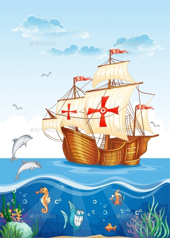 Ship with Seascape - Travel Conceptual