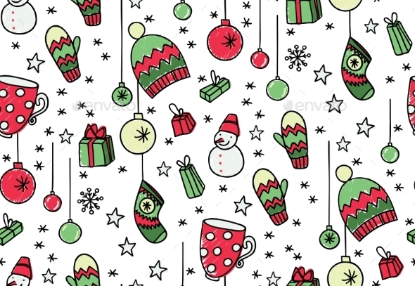 Hand Drawn New Year Seamless Pattern - Christmas Seasons/Holidays