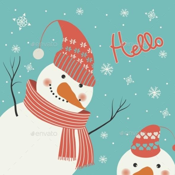 Snowman Says Hello - Christmas Seasons/Holidays