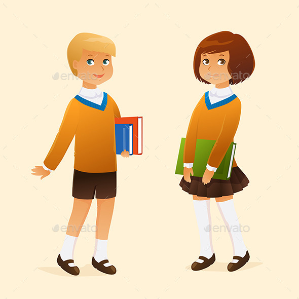 Kids in School Uniform - People Characters