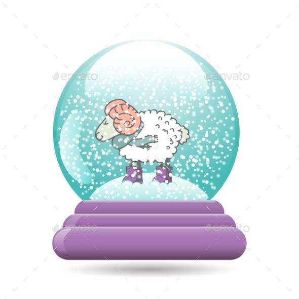 Snow Globe with Sheep for Christmas - Christmas Seasons/Holidays