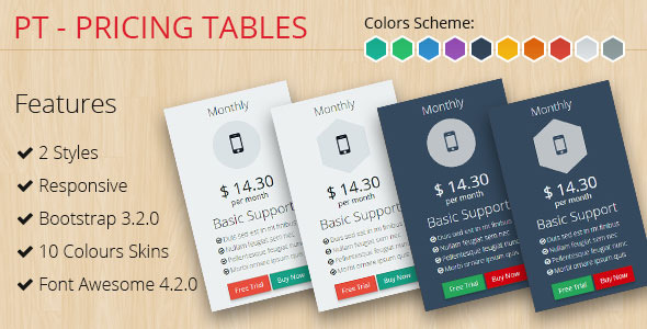 PT - Pricing Tables Bootstrap 3.2.0 Nulled Scripts