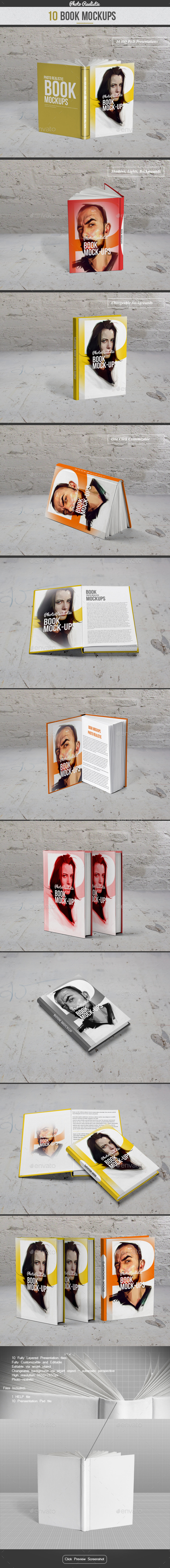 Book / 10 Mockup / Photo Realistic - Books Print
