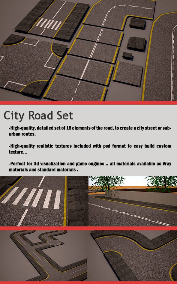 City Road Set (street pack)  - 3DOcean Item for Sale