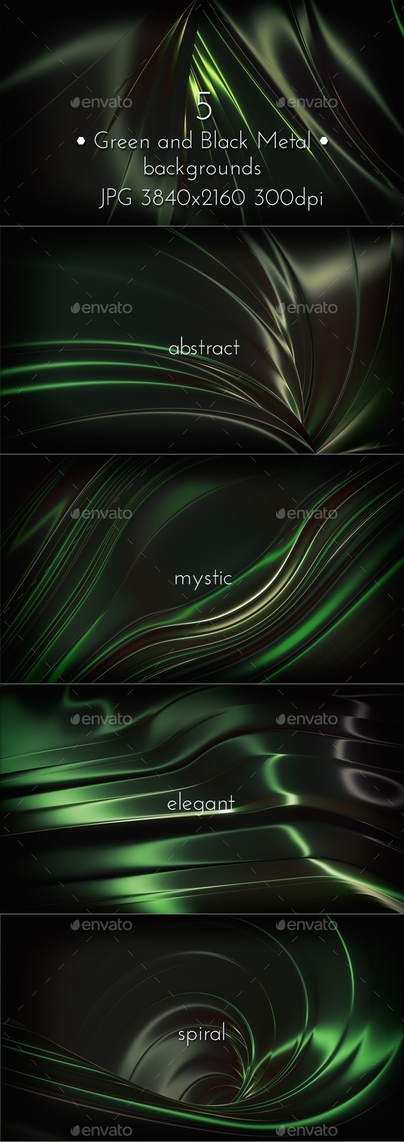 Green and Black Metallic Background - Miscellaneous Backgrounds