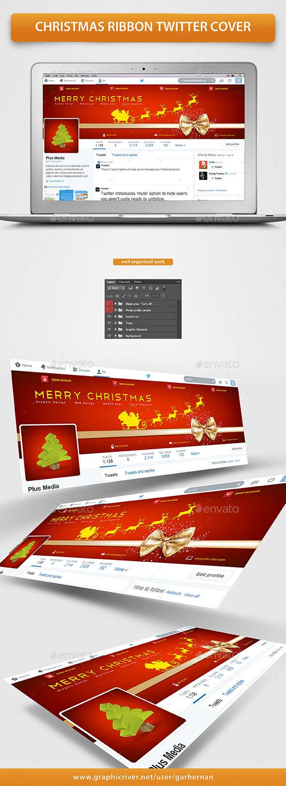 Christmas Ribbon Twitter Cover - Twitter Social Media