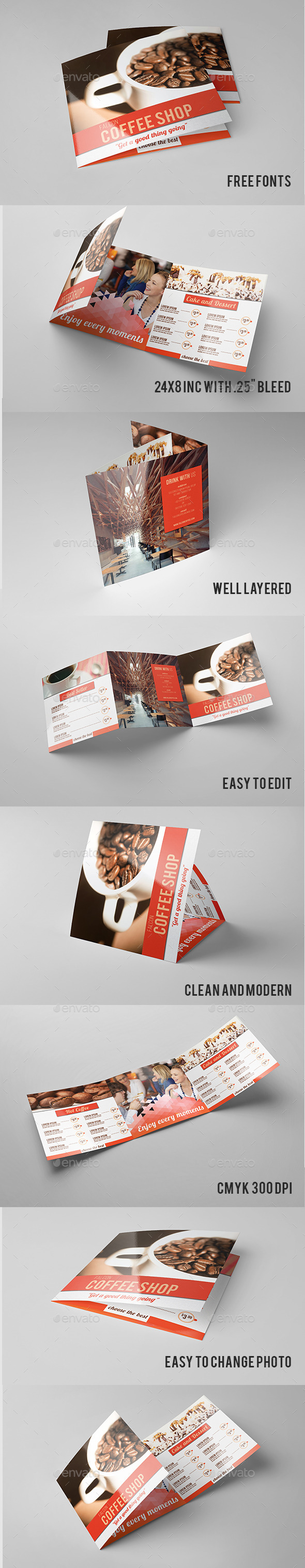 Minimal Square Coffee Shop Trifold - Informational Brochures