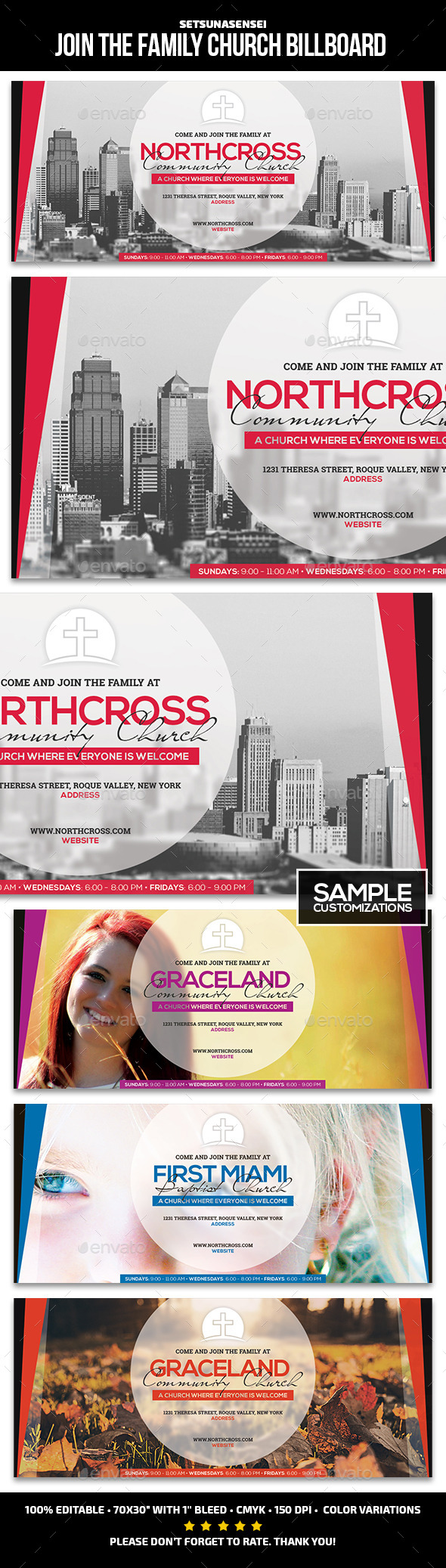 Join the Family Church Billboard - Signage Print Templates