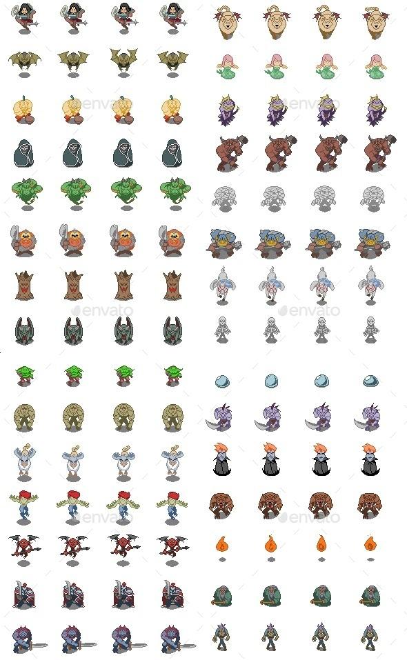 Pixel Monster Set - Sprites Game Assets