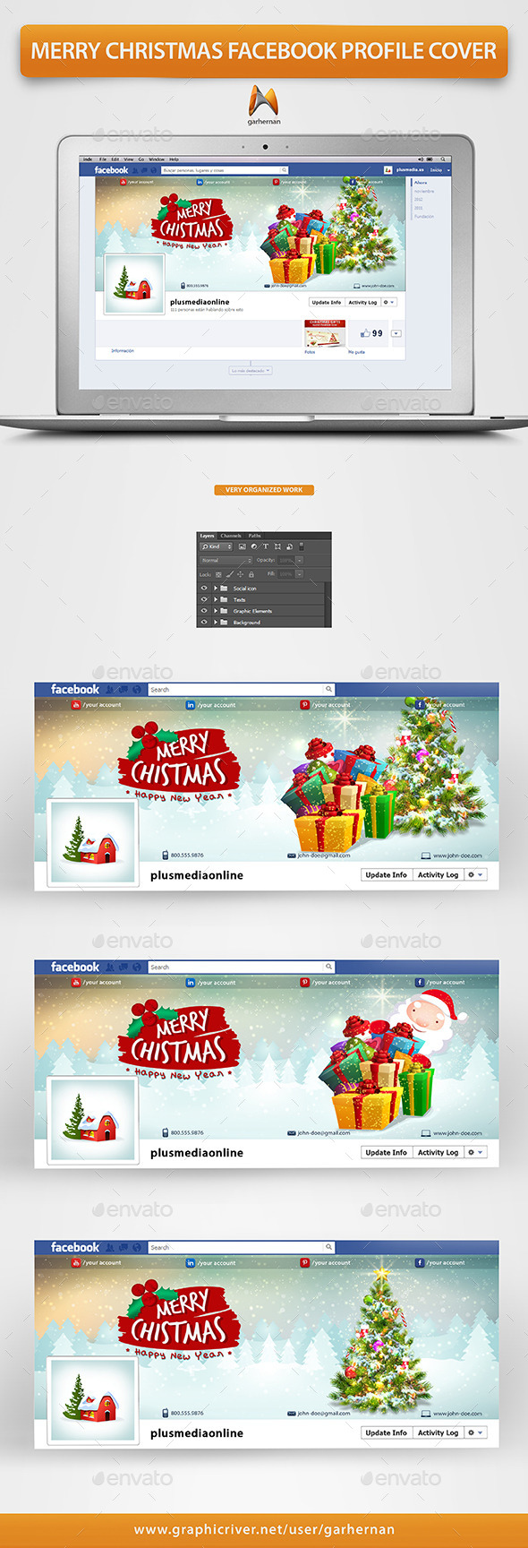 Merry Christmas Facebook Profile Cover - Facebook Timeline Covers Social Media