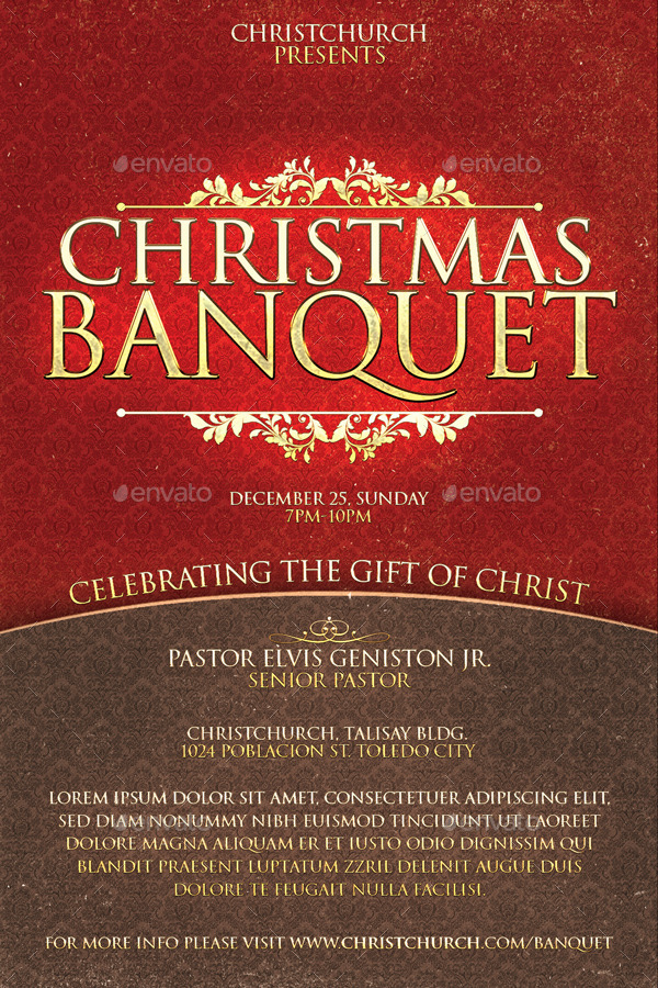 Christmas Banquet Church Flyer by Deconstancio | GraphicRiver