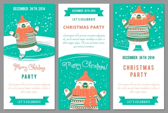 Christmas Party Invitations in Cartoon Style. - Christmas Seasons/Holidays