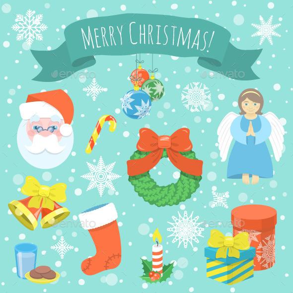 Colorful Christmas Symbols - Christmas Seasons/Holidays