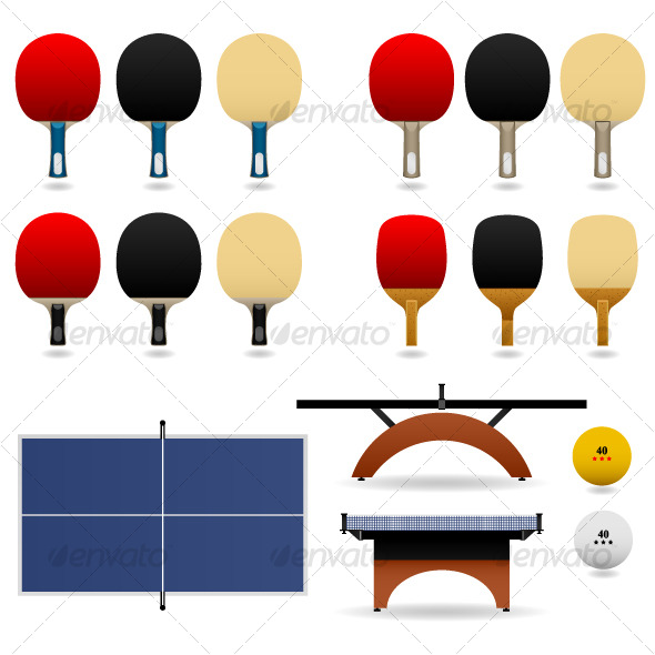 Table Tennis Ping Pong Set Vector - Man-made Objects Objects