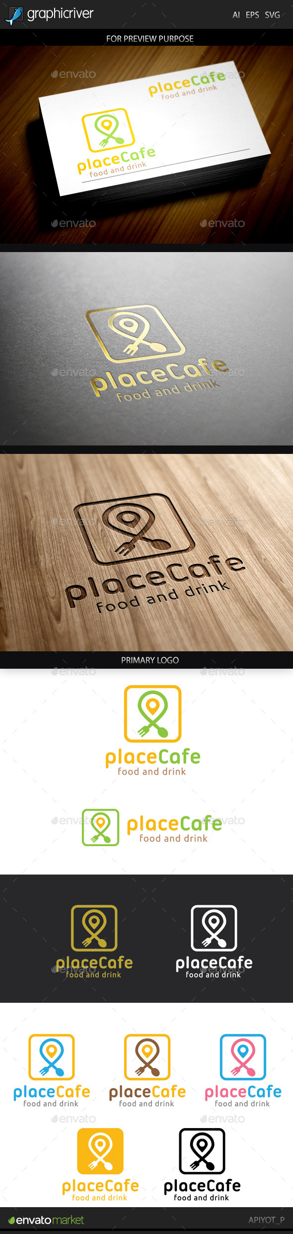 Place Cafe Logo - Food Logo Templates