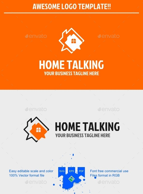 Talking home logo - Symbols Logo Templates