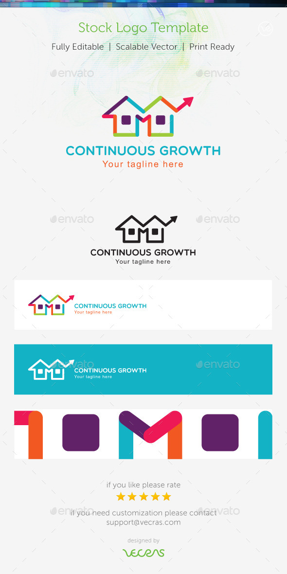 Continuous Growth Stock Logo Template - Buildings Logo Templates