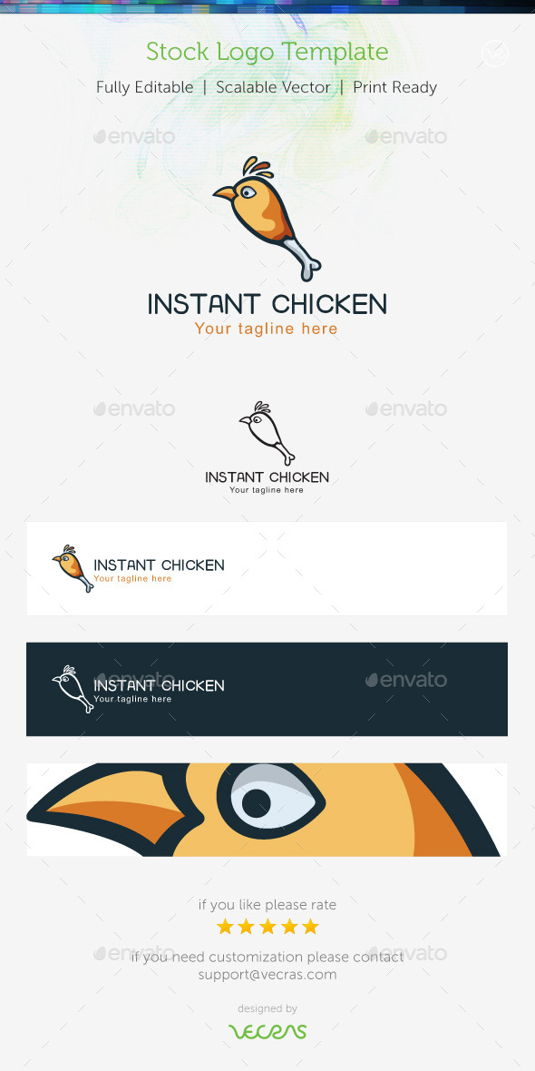 Instant Chiken Stock Logo Template - Food Logo Templates