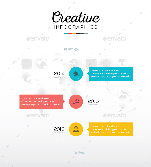Flat Timeline Infographic With Three Options - Infographics