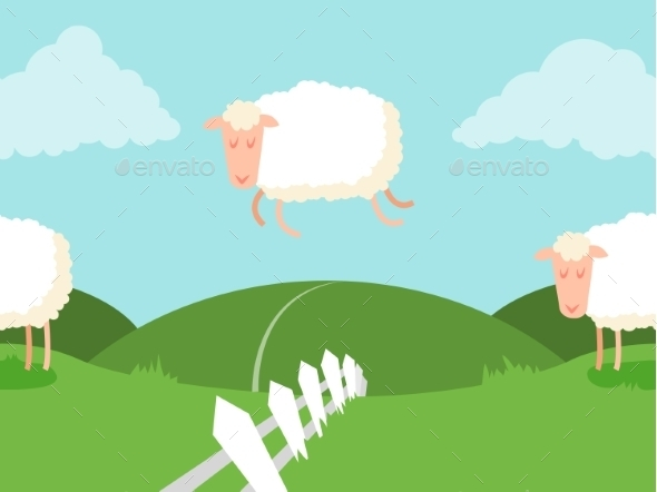 Seamless Sheep Jumping Over the Fence - Animals Characters