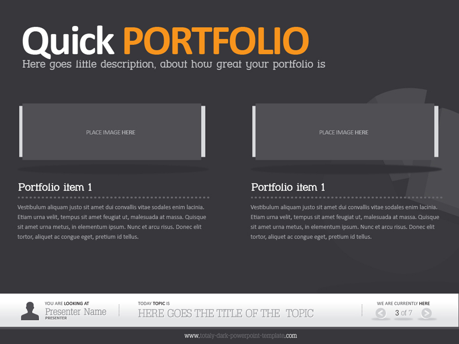 Dark powerpoint template by alanmolnar graphicriver for Microsoft office portfolio template
