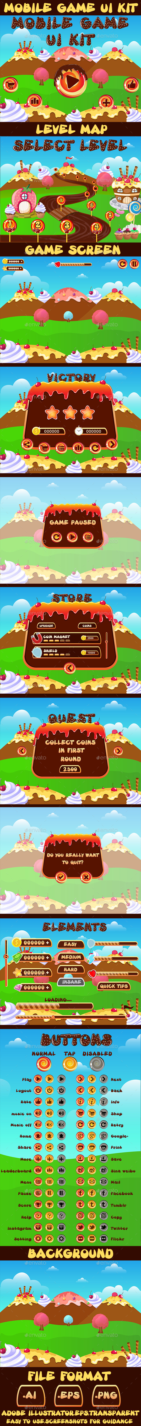 Mobile Candy Game UI Kit 07 - User Interfaces Game Assets