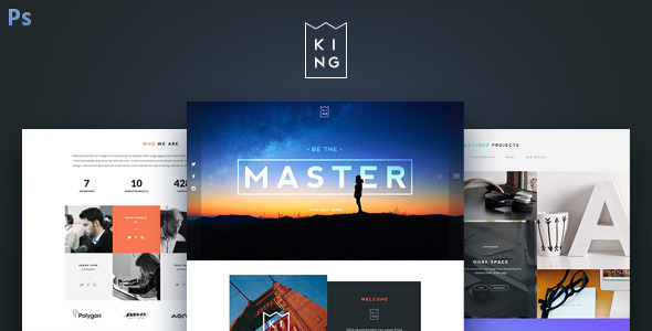 KING - Creative One Page PSD Template - Creative PSD Templates