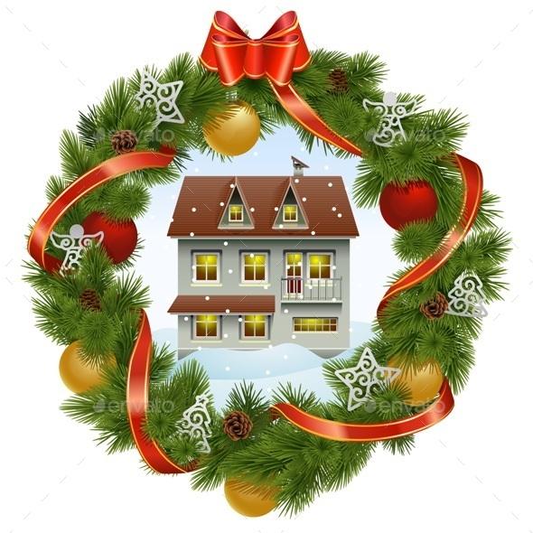 Christmas Wreath with House - Christmas Seasons/Holidays