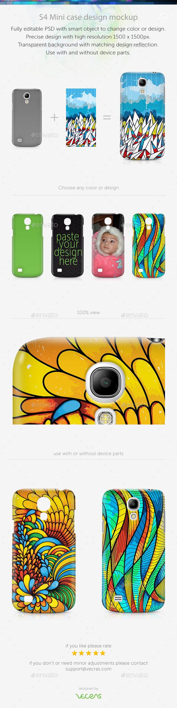S4 Mini Case Design Mockup - Mobile Displays