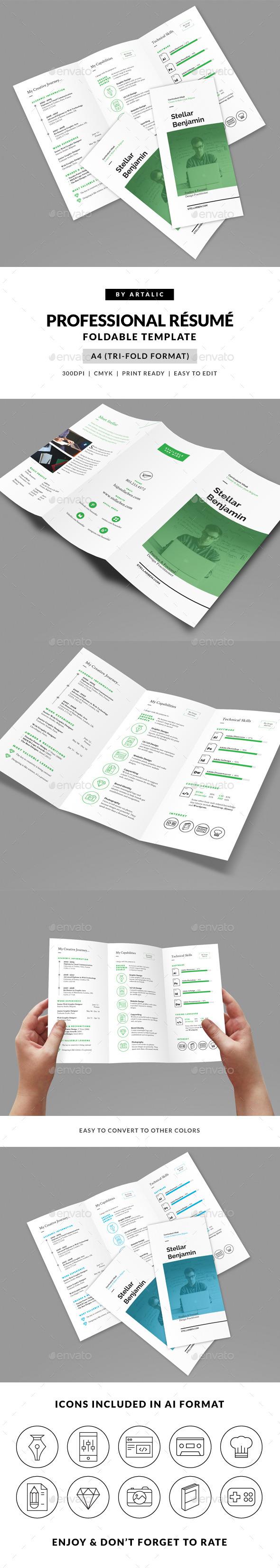 Stellar Tri-fold Resume CV - Resumes Stationery