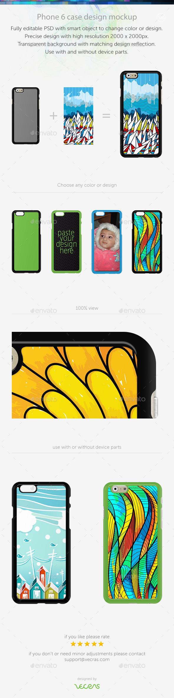 Phone 6 Sticker Case Design Mockup