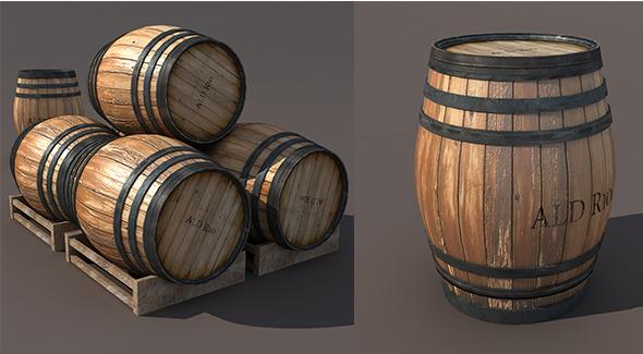 Wooden Barrel Low poly 3d Model - 3DOcean Item for Sale