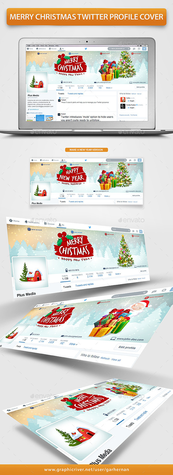 Merry Christmas Twitter Profile Cover - Twitter Social Media