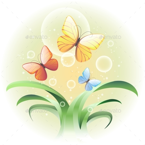 Sprouts and Butterflies - Nature Conceptual