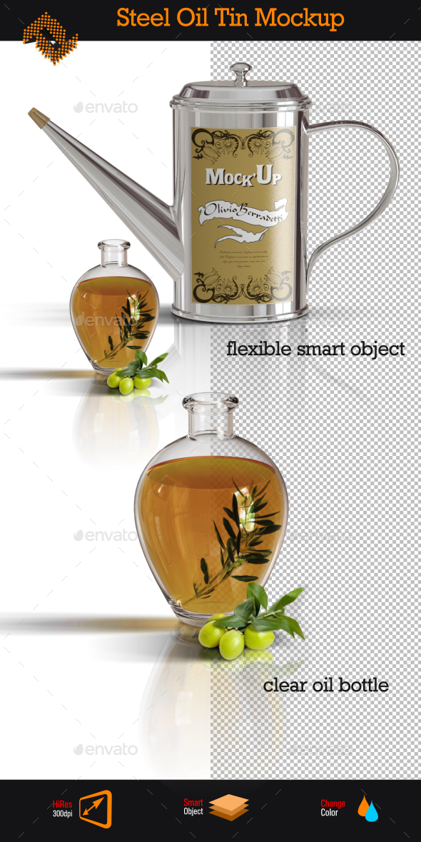 Stainless Steel Oil Tin Mockup - Food and Drink Packaging