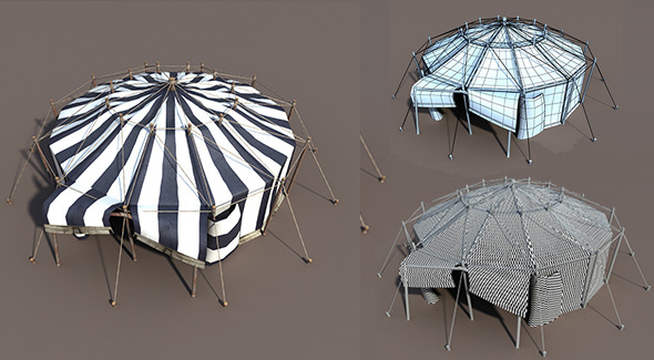 Circus Tent Black&White - 3DOcean Item for Sale
