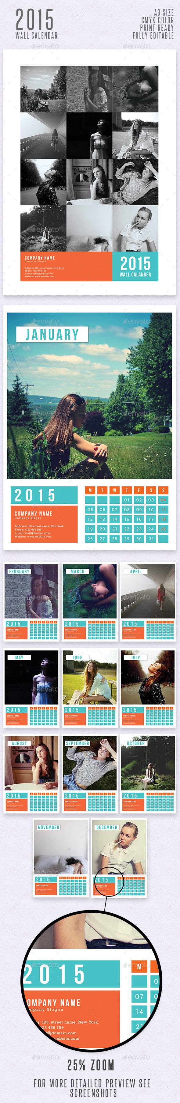 Simple Wall Calendar 2015 - Calendars Stationery