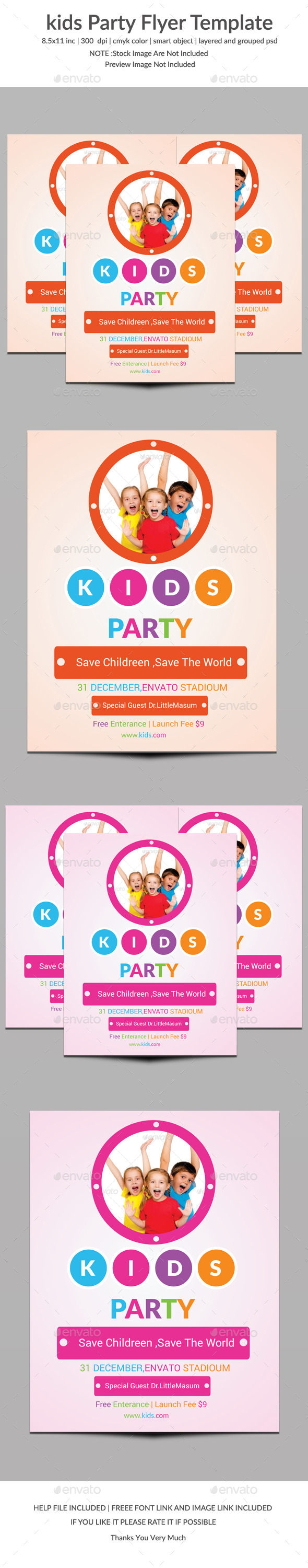 Kids Party Flyer Template Two - Clubs & Parties Events
