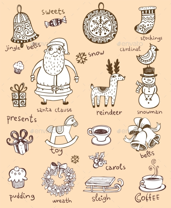 Christmas Doodle Symbols  - Christmas Seasons/Holidays