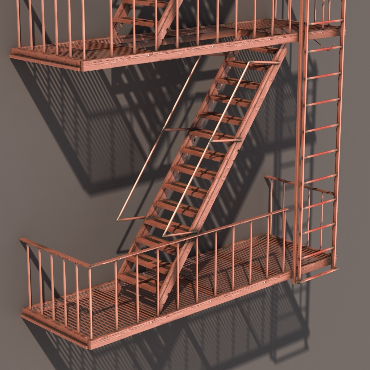 Fire Escape Stairs Low Poly